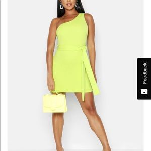 Lime green one shoulder bodycon dress